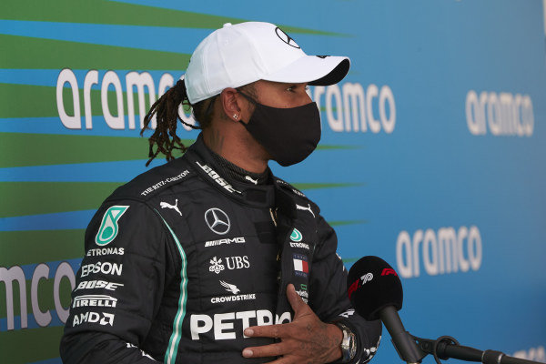 Lewis Hamilton, Mercedes-AMG Petronas F1, is interviewed after Qualifying
