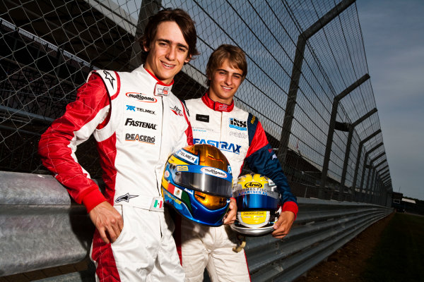 Round 4.Silverstone, England. 8th July 2010. Thursday Preview. Esteban Gutierrez, (MEX, ART Grand Prix) and Nico Muller, (Sui, Jenzer Motorsport), winners of races 5 and 6 in the GP3 series in Valencia.Portrait. World Copyright: Drew Gibson/LAT PhotographicDigital Image _Y2Z7259