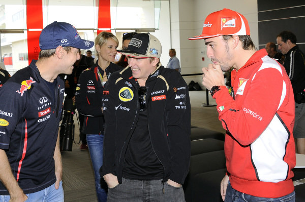 (L to R): Sebastian Vettel (GER) Red Bull Racing, Kimi Raikkonen (FIN) Lotus F1 and Fernando Alonso (ESP) Ferrari. Formula One World Championship, Rd19 United States Grand Prix, Preparations, Austin, Texas, 15 November 2012.
