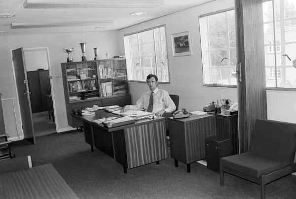 Phil Kerr (NZL) McLaren Racing Director in his office.McLaren Headquarters, Colnbrook, near Heathrow, England, 1973.