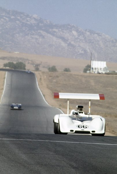 1968 Can-Am Challenge Cup.CanAm race. Riverside, California, United States (USA). 27 October 1968.Jim Hall (Chaparral 2G-Chevrolet), 3rd position.World Copyright: LAT PhotographicRef: 35mm transparency 68CANAM11