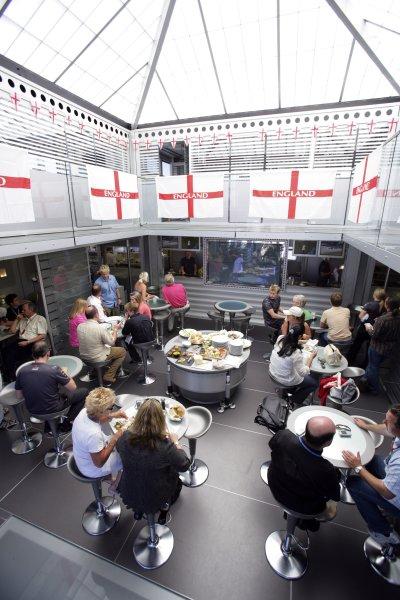 2006 British Grand Prix - Saturday Qualifying Silverstone, England. 8th - 11th June. England flags in the McLaren Mercedes F1 hospitality unit, atmosphere. World Copyright: Lorenzo Bellanca/LAT Photographic ref: Digital Image ZD2J3565