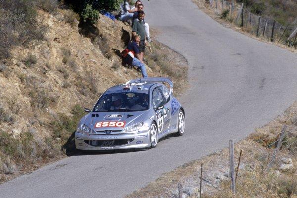 2000 World Rally Championship.Tour de Corse, Corsica, France. 29 September-1 October 2000.Gilles Panizzi/Herve Panizzi (Peugeot 206 WRC), 1st position.World Copyright: LAT PhotographicRef: 35mm transparency 2000RALLY11