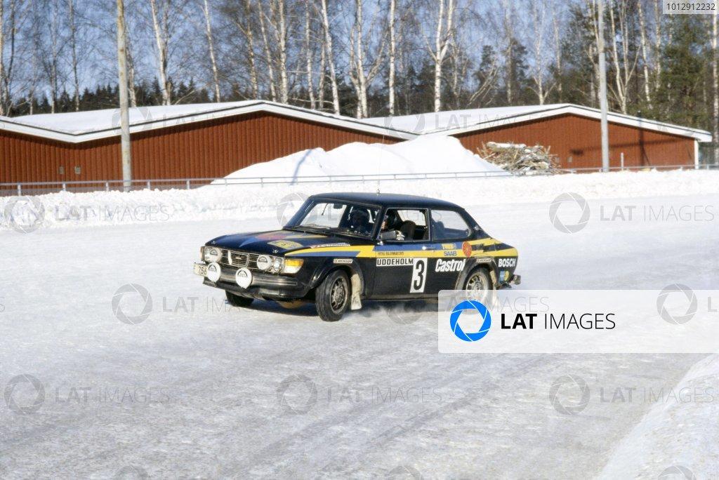 1979 World Rally Championship.Swedish Rally, Sweden. 16-18 February 1979.Stig Blomqvist/Bjorn Cederberg (SAAB 99 Turbo), 1st position.World Copyright: LAT PhotographicRef: 35mm transparency 79RALLY11