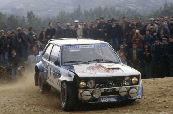 1981 World Rally Championship.Portuguese Rally, Portugal. 4-7 March 1981.Markku Alen/Ilkka Kivimaki (Fiat 131 Abarth), 1st position.World Copyright: LAT PhotographicRef: 35mm transparency 81RALLY02