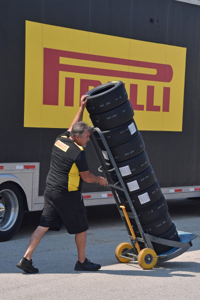 2017 F4 US Championship Rounds 1-2-3 Homestead-Miami Speedway, Homestead, FL USA Friday 7 April 2017 Stack of Pirelli tires on the way to be mounted on rims World Copyright: Dan R. Boyd/LAT Images