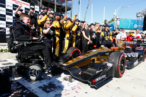 2017 Verizon IndyCar Series Toyota Grand Prix of Long Beach Streets of Long Beach, CA USA Sunday 9 April 2017 James Hinchcliffe celebrates with his crew in victory lane World Copyright: Phillip Abbott/LAT Images ref: Digital Image lat_abbott_lbgp_0417_15290
