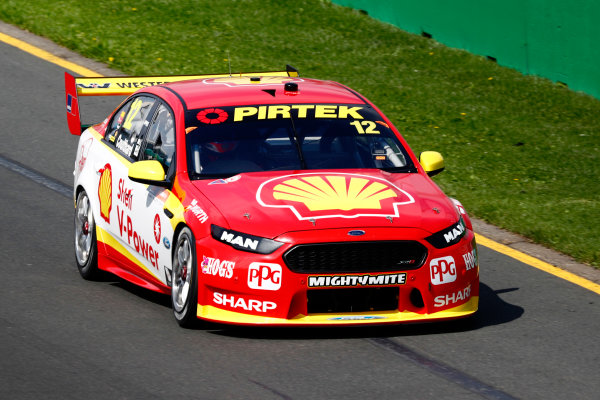 Australian Supercars Series Albert Park, Melbourne, Australia. Sunday 26 March 2017. Race 4. Fabian Coulthard, No.12 Ford Falcon FG-X, Shell V-Power Racing Team.  World Copyright: Zak Mauger/LAT Images ref: Digital Image _94I9872