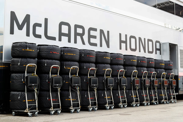 Circuit de Catalunya, Barcelona, Spain. Thursday 11 May 2017. A line-up of stacked and blanketed Pirelli tyres for Stoffel Vandoorne, McLaren MCL32 Honda and Fernando Alonso, McLaren.  World Copyright: Steven Tee/LAT Images ref: Digital Image _O3I1684