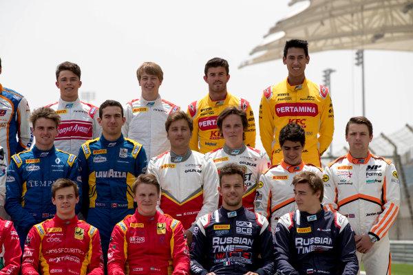 2017 FIA Formula 2 Round 1. Bahrain International Circuit, Sakhir, Bahrain.  Thursday 13 April 2017. Class photo on the grid. Photo: Zak Mauger/FIA Formula 2. ref: Digital Image _56I8919