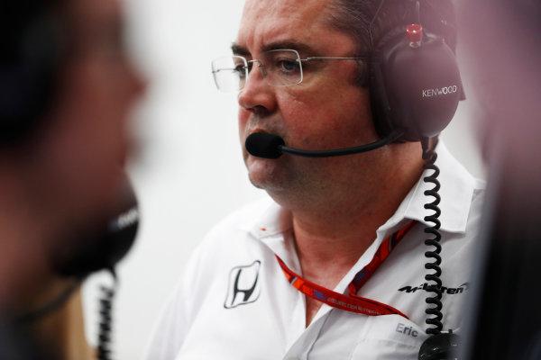 Bahrain International Circuit, Sakhir, Bahrain.  Wednesday 19 April 2017. Eric Boullier, Racing Director, McLaren.  World Copyright: Glenn Dunbar/LAT Images ref: Digital Image _X4I4879