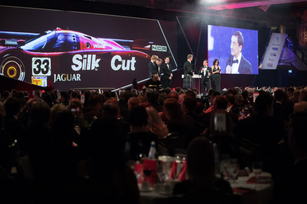 2017 Autosport Awards Grosvenor House Hotel, Park Lane, London. Sunday 3 December 2017. WEC Champions Brendon Hartley, Timo Bernhard and Earl Bamber present the John Bolster award to Pierre Fillon on behalf of the Automobile Club de l'Ouest. World Copyright: Zak Mauger/LAT Images  ref: Digital Image _O3I7340