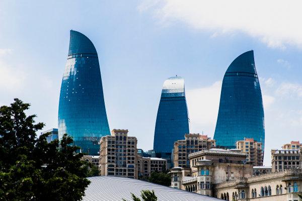 Baku City Circuit, Baku, Azerbaijan. Wednesday 21 June 2017. A view of the Flame Towers. World Copyright: Zak Mauger/LAT Images ref: Digital Image _56I5942