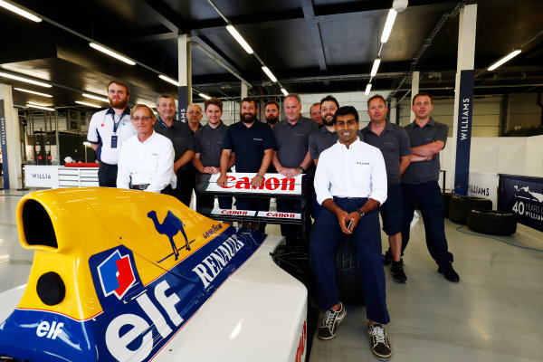 Williams 40 Event Silverstone, Northants, UK Friday 2 June 2017. A group photo next to the Williams FW14B Renault.  World Copyright: Sam Bloxham/LAT Images ref: Digital Image _W6I6802