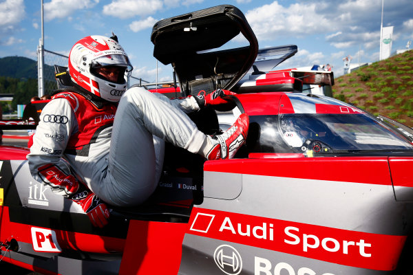 Red Bull Ring, Spielberg, Austria. Saturday 08 July 2017. Tom Kristensen exits an Audi LMP1 car. World Copyright: Andy Hone/LAT Images ref: Digital Image _ONY1998