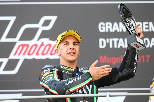 2017 Moto3 Championship - Round 6 Mugello, Italy Sunday 4 June 2017 Podium: Race winner Andrea Migno, Sky Racing Team VR46 World Copyright: Gold & Goose Photography/LAT Images ref: Digital Image 674654