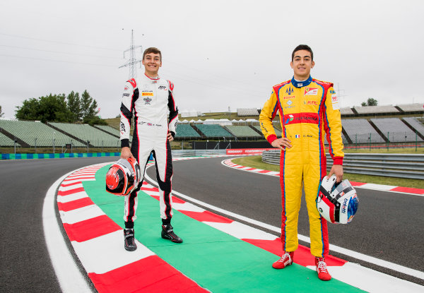2017 GP3 Series Round 4.  Hungaroring, Budapest, Hungary. Thursday 27 July 2017. George Russell (GBR, ART Grand Prix) and Giuliano Alesi (FRA, Trident).  Photo: Zak Mauger/GP3 Series Media Service. ref: Digital Image _56I0100