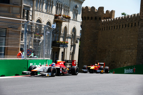 Baku City Circuit, Baku, Azerbaijan. Saturday 24 June 2017. Ralph Boschung (SUI, Campos Racing) and Louis Deletraz (SUI, Racing Engineering)  World Copyright: Hone/LAT Images ref: Digital Image _ONY9634