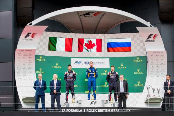2017 FIA Formula 2 Round 6. Silverstone, Northamptonshire, UK. Sunday 16 July 2017. Luca Ghiotto (ITA, RUSSIAN TIME), Nicholas Latifi (CAN, DAMS) and Artem Markelov (RUS, RUSSIAN TIME).  Photo: Zak Mauger/FIA Formula 2. ref: Digital Image _56I0745