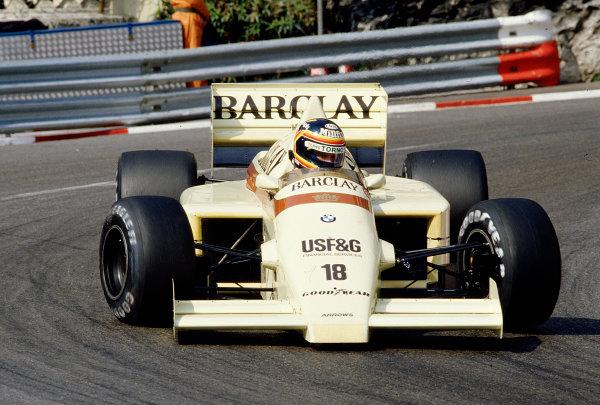 1986 Monaco Grand Prix. Monte Carlo, Monaco. 8-11 May 1986. Thierry Boutsen (Arrows A8 BMW) 8th position. Ref-86 MON 64. World Copyright - LAT Photographic