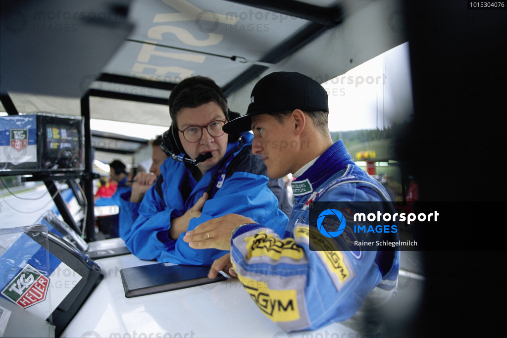 Benetton technical director Ross Brawn with Michael Schumacher.