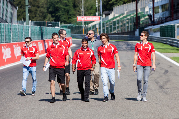 Spa-Francorchamps, Spa, Belgium. Thursday 20 August 2015. Roberto Merhi, Manor F1, walks the track with his engineers and Fabio Leimer, Reserve Driver, Manor F1. World Copyright: Zak Mauger/LAT Photographic ref: Digital Image _MG_1185