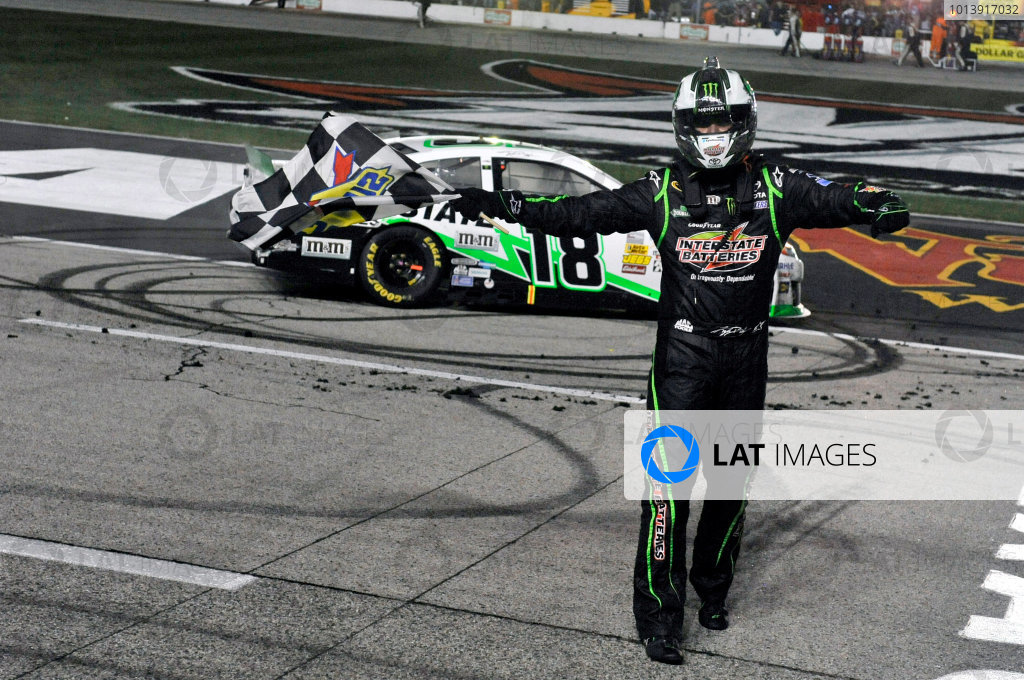 11-13 April, 2013, Fort Worth, Texas USA Kyle Busch, Interstate Batteries Toyota Camry celebrates his win with a burnout ©2013, Nigel Kinrade LAT Photo USA