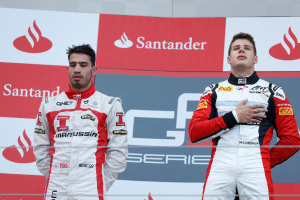 2013 GP3 Series. Round 4.  Nurburgring, Germany.  6th July 2013.  Saturday Race. Facu Regalia (ARG, ART Grand Prix) celebrates his victory on the podium with Tio Ellinas (CYP, Marussia Manor Racing). World Copyright: Alastair Staley/GP2 Series Media Service. Ref: _R6T7232