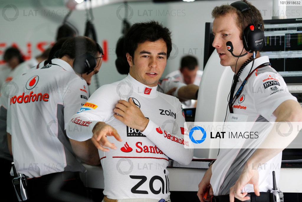 Bahrain International Circuit, Sakhir, Bahrain Friday 19th April 2013 Sergio Perez, McLaren.  World Copyright: Steven Tee/LAT Photographic ref: Digital Image _14P7775