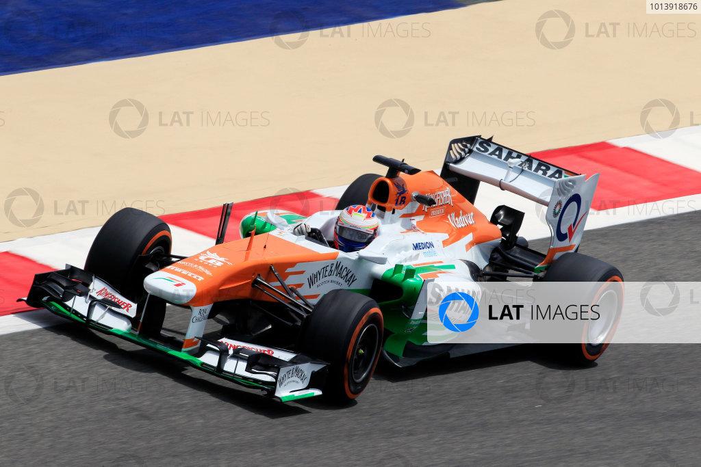 Bahrain International Circuit, Sakhir, Bahrain Friday 19th April 2013 Paul di Resta, Force India VJM06 Mercedes.  World Copyright: Charles Coates/LAT Photographic ref: Digital Image _X5J2639