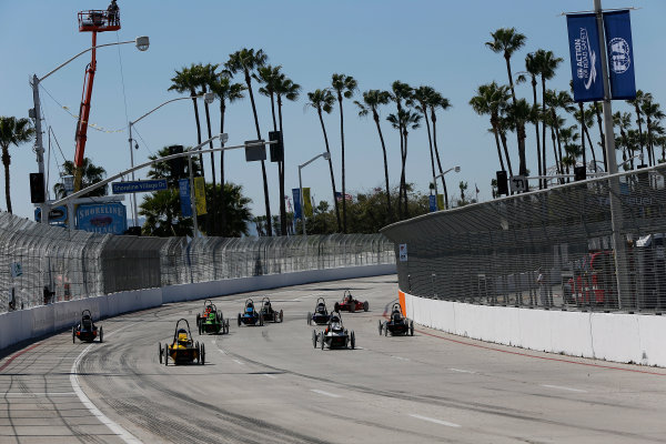 2014/2015 FIA Formula E Championship. Long Beach ePrix, Long Beach, California, United States of America. Saturday 4 April 2015 Greenpower School Series race start. Photo: Zak Mauger/LAT/Formula E ref: Digital Image _L0U7892