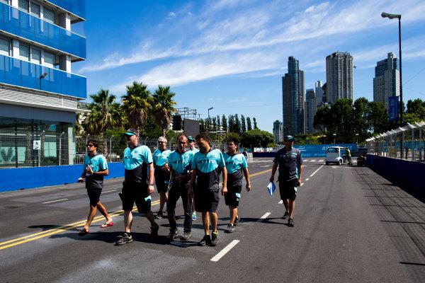 2015/2016 FIA Formula E Championship. Buenos Aires ePrix, Buenos Aires, Argentina. Friday 5 February 2016. Nelson Piquet (BRA), NEXTEV TCR FormulaE 001 and Oliver Turvey (GBR) NEXTEV TCR FormulaE 001 walk the track. Photo: Zak Mauger/LAT/Formula E ref: Digital Image _L0U9733