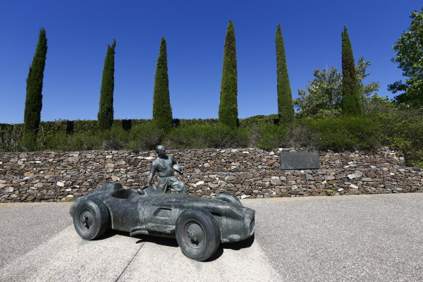2016 GP3 Series Round 1.  Circuit de Catalunya, Barcelona, Spain. Thursday 12 May 2016. Juan Manuel Fangio statue. Photo: Zak Mauger/GP3 Series Media Service. ref: Digital Image _L0U6525