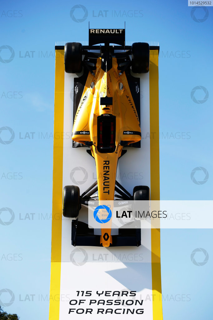 Albert Park, Melbourne, Australia. Wednesday 16 March 2016. The Renault RS16 in its new livery is displayed in the paddock. World Copyright: Sam Bloxham/LAT Photographic ref: Digital Image _L4R0206