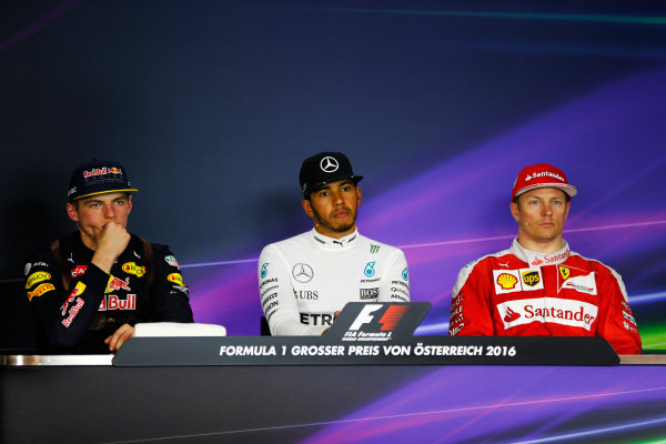 Red Bull Ring, Spielberg, Austria. Sunday 03 July 2016. Lewis Hamilton, Mercedes AMG, 1st Position, Max Verstappen, Red Bull Racing, 2nd Position, and Kimi Raikkonen, Ferrari, 3rd Position, in the Press Conference. World Copyright: Andy Hone/LAT Photographic ref: Digital Image _ONY5915