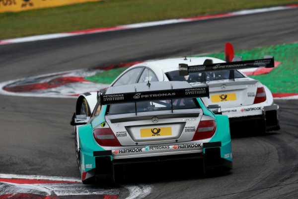 2014 DTM Championship Round 7 - Nurburgring, Germany 15th - 17th August 2014 Paul Di Resta (GBR) Mercedes AMG DTM-Team HWA DTM Mercedes AMG C-Coup? and Daniel Juncadella (ESP) Mercedes AMG DTM-Team M?cke DTM Mercedes AMG C-Coup? World Copyright: XPB Images / LAT Photographic  ref: Digital Image 3257246_HiRes