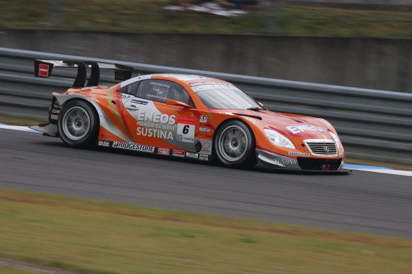 Motegi, Japan. 3rd - 4th November 2013. Rd 8. GT500 Winner Kazuya Oshima & Yuji Kunimoto ( #6 ENEOS SUSTINA SC430 ) action World Copyright: Yasushi Ishihara/LAT Photographic. Ref: 2013_Rd8_004