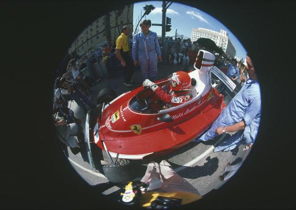 Long Beach, California, USA. 26th - 28th March 1976. Niki Lauda (Ferrari 312T), 2nd position, portrait.  World Copyright: LAT Photographic.  Ref: 76LB33.