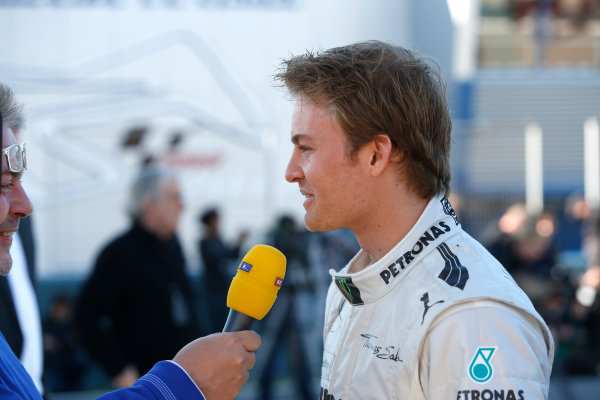 Circuito de Jerez, Jerez de la Frontera, Spain, 4th February 2013 Nico Rosberg, Mercedes AMG, is interviewed by RTL TV after the unveiling of the Mercedes W04 F1 car. World Copyright: Alastair Staley/LAT Photographic ref: _R6T7367