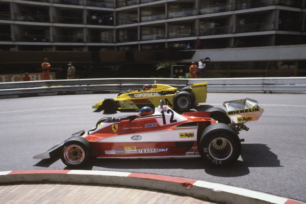 Monte-Carlo, Monaco. 5th - 7th May 1978.Gilles Villeneuve (Ferrari 312T3), retired due to a front tyre bursting passes Emerson Fittipaldi (Copersucar F5A-Ford), 9th position, action.World Copyright:  LAT Photographic.Ref: 78MON32.