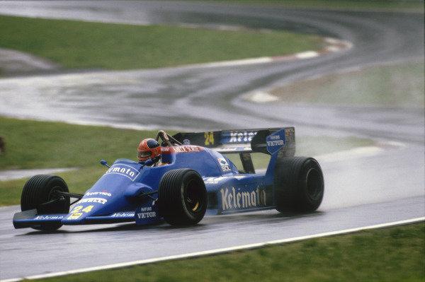 Imola, Italy. 4th - 5th May 1984.Piercarlo Ghinzani (Osella FA1F-Alfa Romeo), DNQ, action.World Copyright: LAT Photographic.Ref:  Colour Transparency.