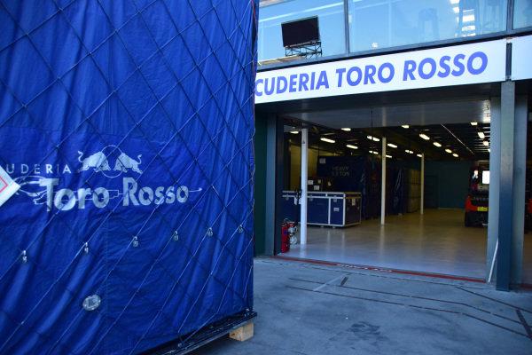 Scuderia Toro Rosso freight in the pitlane at Albert Park. Formula One World Championship, Rd1, Australian Grand Prix, Preparations, Albert Park, Melbourne, Australia, Sunday 9 March 2014.