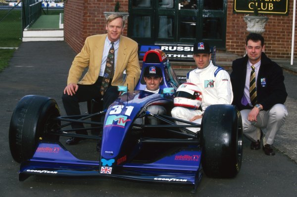 The Simtek team announce their new sponsors (L to R): Ari Vatanen (FIN); David Brabham (AUS); Roland Ratzenberger (AUT); Nick Wirth (GBR) Simtek Team Principal.