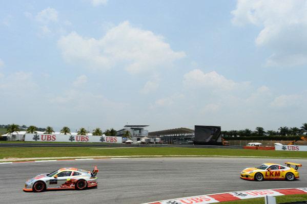 Weng Sun Mok (SIN) Clearwater Racing and Yuk Lung Siu (HKG) LKM Racing Team. Porsche Carrera Cup Asia, Sepang, Malaysia, 28-30 March 2014.