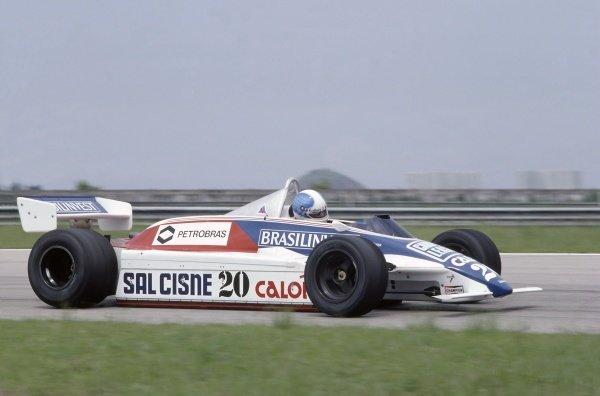 1982 Brazilian Grand Prix.Rio de Janeiro, Brazil. 19-21 March 1982.Chico Serra (Fittipaldi F8D-Ford Cosworth), retired.World Copyright: LAT PhotographicRef: 35mm transparency 82BRA04
