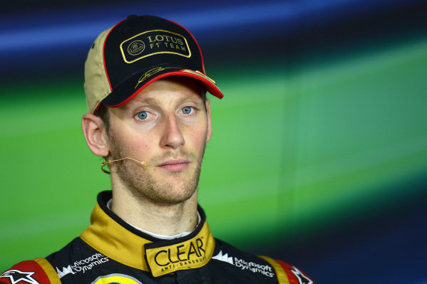 Romain Grosjean (FRA) Lotus F1, who finished third, in the post-race Press Conference. Formula One World Championship, Rd9, German Grand Prix, Race Day, Nurburgring, Germany, Sunday 7 July 2013.
