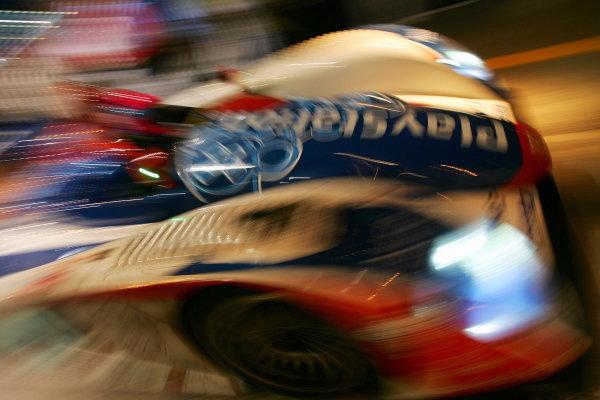 Franck Montagny (FRA) Jean Marc Gounon (FRA) Stephane Ortelli (FRA) Audi Playstation Team Oreca Audi R8, blasts out of the pits during Wednesday nights practice session.Le Mans 24 Hours, First Qualifying, Le Mans, France, 15 June 2005.DIGITAL IMAGE