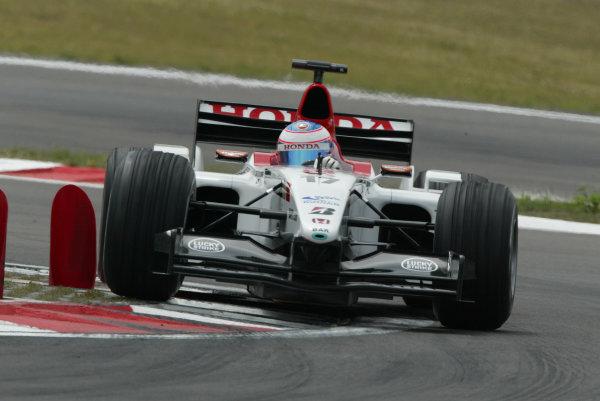 2003 European Grand Prix - Saturday Final Qualifying,Nurburgring, Germany. 28th June 2003 Jenson Button, BAR Honda 005, action.World Copyright: Steve Etherington/LAT Photographic ref: Digital Image Only