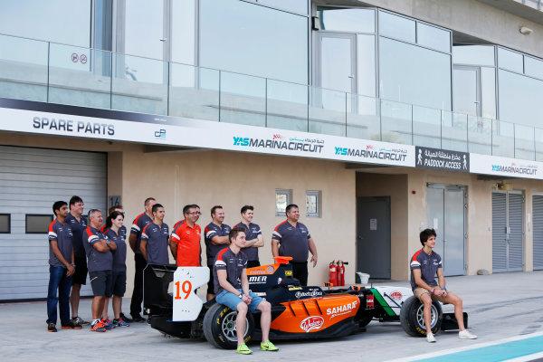2014 GP3 Series. Round 9.   Yas Marina Circuit, Abu Dhabi, United Arab Emirates. Thursday 20 November 2014. Nelson Mason (CAN, Hilmer Motorsport) and Riccardo Agostini (ITA, Hilmer Motorsport). Photo: Zak Mauger/GP3 Series Media Service. ref: Digital Image _L0U3991