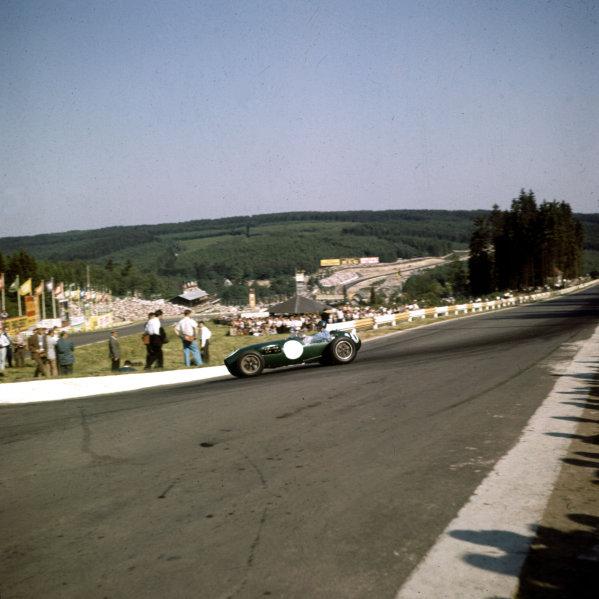 1958 Belgian Grand Prix. Spa-Francorchamps, Belgium. 13-15 June 1958. Cliff Allison (Lotus 12 Climax), 4th position. Ref-3/0058. World Copyright - LAT Photographic